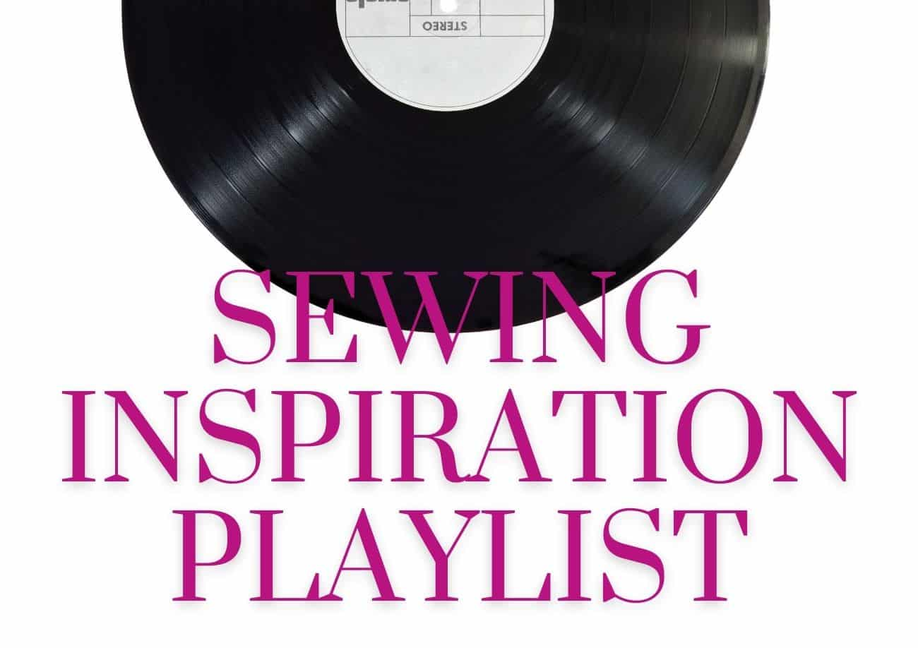 A black vintage record with pink words that say Sewing Inspiration Playlist on a white background