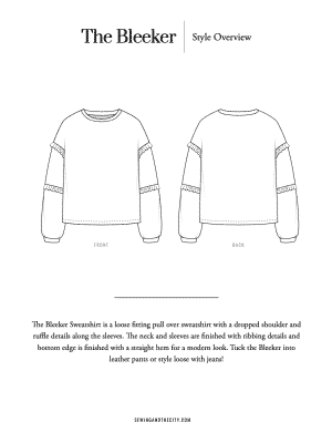 The Bleeker Sweatshirt PDF Sewing Pattern