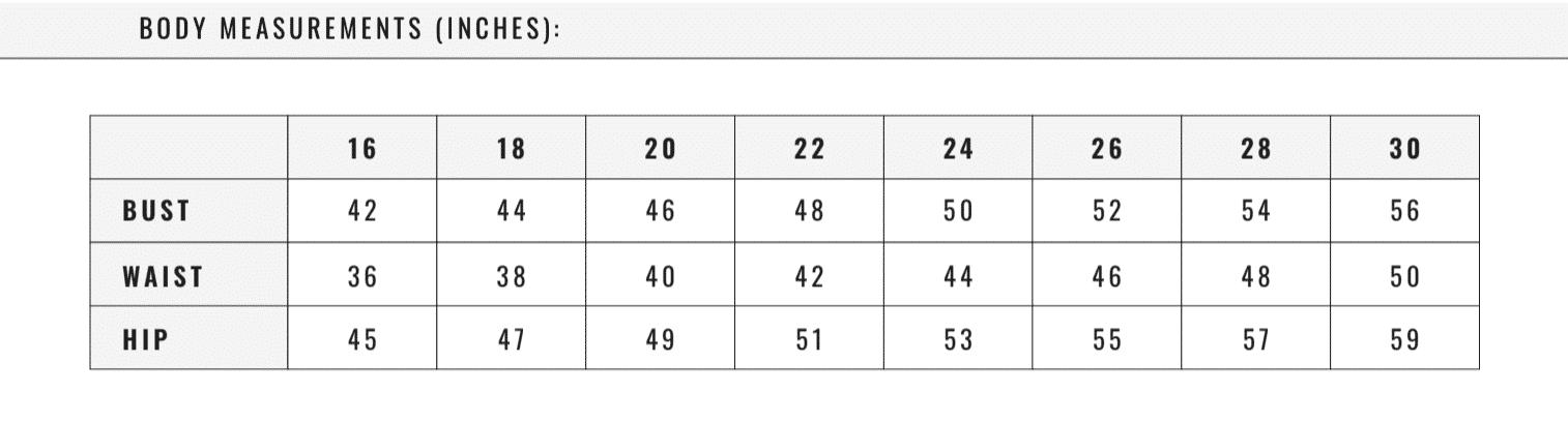 SATC Sizing Chart
